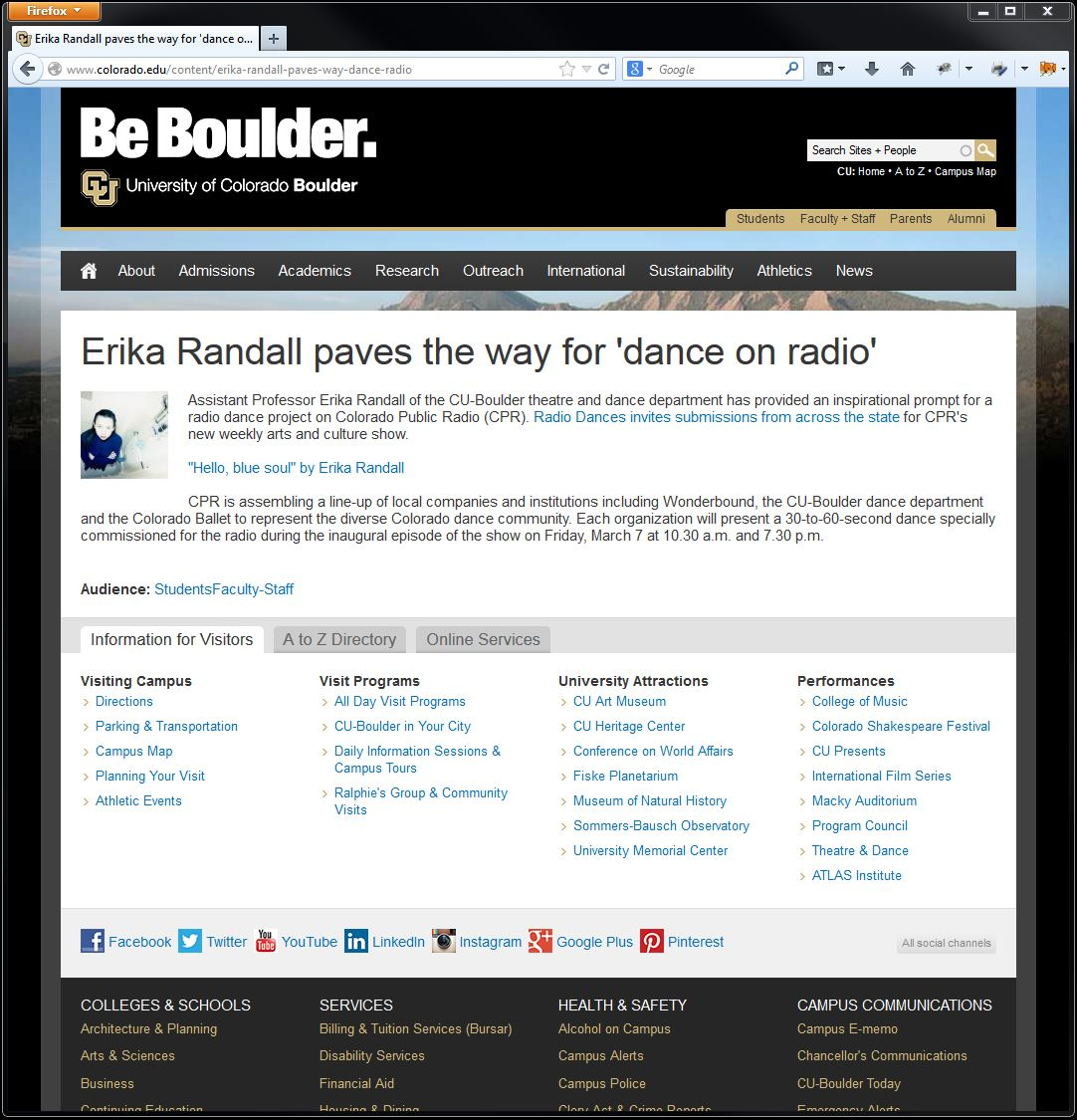 CU Boulder post - Dance for Radio